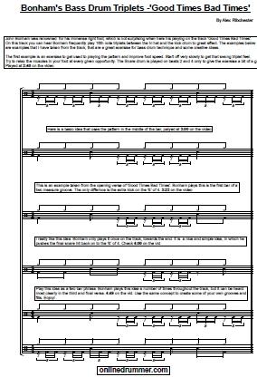 Bonham's Bass Drum Triplets - Good Times Bad Times - Sheet Music