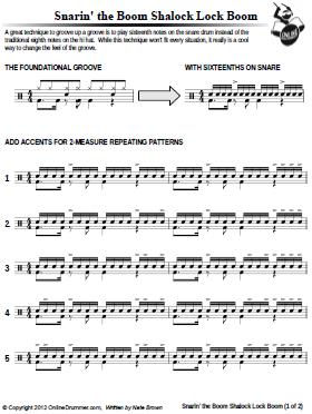 Snarin' The Boom Shalock Lock Boom - Sheet Music