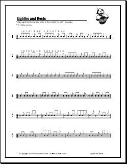 Eighths And Rests (8th notes & rests, quarter notes & rests)
