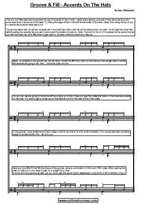 A Groove and Fill - With Accents on the Hats - Sheet Music