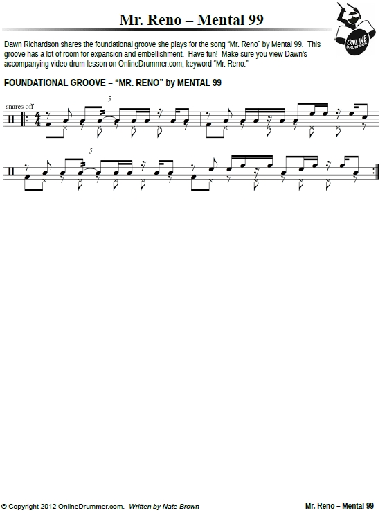 Mr. Reno Drum Beat - Sheet Music PDF