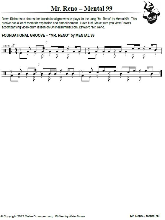 Mr. Reno Drum Beat - Sheet Music PDF